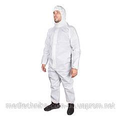 Одноразовый защитный костюм с капюшоном, трехслойный (плотность 40 г/м), белый,