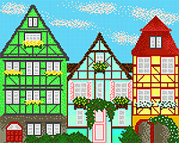 """А3 """"Європейські будиночки 3 схема для вишивки бісером"""