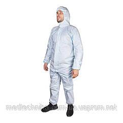 Одноразовый защитный костюм с капюшоном, трехслойный, голубой