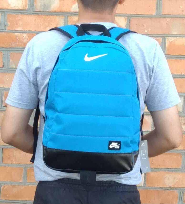 Рюкзак Nike Air, найк аир. Топ качество. Голубой с черным дном. А4 Vsem