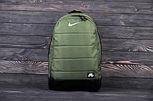 Городской, спортивный рюкзак Nike Air, найк. Хаки. Зелный с черным дном. Vsem