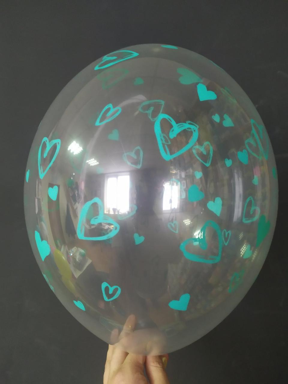 """Латексна кулька з малюнком Серце бірюзовий прозорий кристал 038 12"""" 30см Belbal ТМ """"Star"""""""