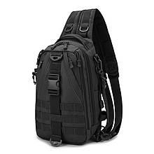 Черная тактическая сумка-рюкзак, мессенджер, барсетка. Vsem