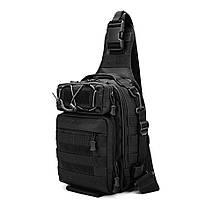 Большая тактическая сумка-рюкзак, мессенджер, барсетка. Черная. Vsem
