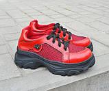 Жіночі кросівки червоні літні шкіряні, фото 3