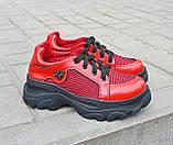 Жіночі кросівки червоні літні шкіряні, фото 4
