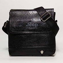 Мужская сумка через плечо Jeep. Черная. 21см х 19см / Кожа PU. 552 black Vsem