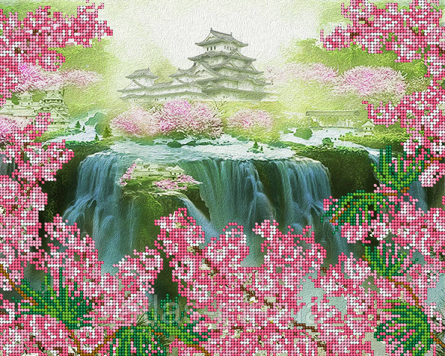 """А3 """"Небесная пагода"""" схема для вышивки бисером"""
