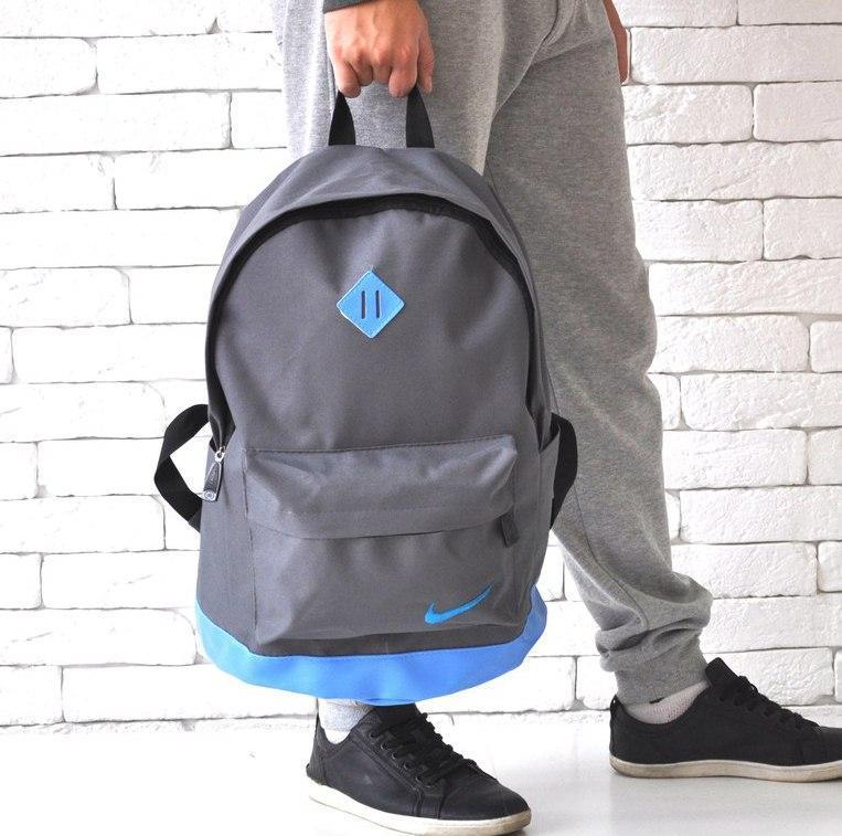 Стильный рюкзак NIKE (Найк). Серый с голубым. Vsem