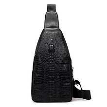 Мужская сумка на одно плечо, слинг Alligator. Черная / 2799 Vsem