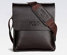 Качественная мужская сумка через плечо Polo Videng поло Темно-коричневая 24x21x7 ViPvse