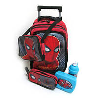 "Набор для мальчика чемодан-рюкзак на 2 колесах 16"" + сумка + пенал + ланчбокс +бутылка ""SM""L Спайдермен"