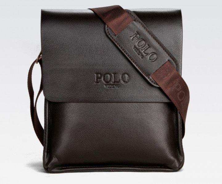 Качественная мужская сумка через плечо Polo Videng, поло. Темно-коричневая. 24x21x7 Vsem