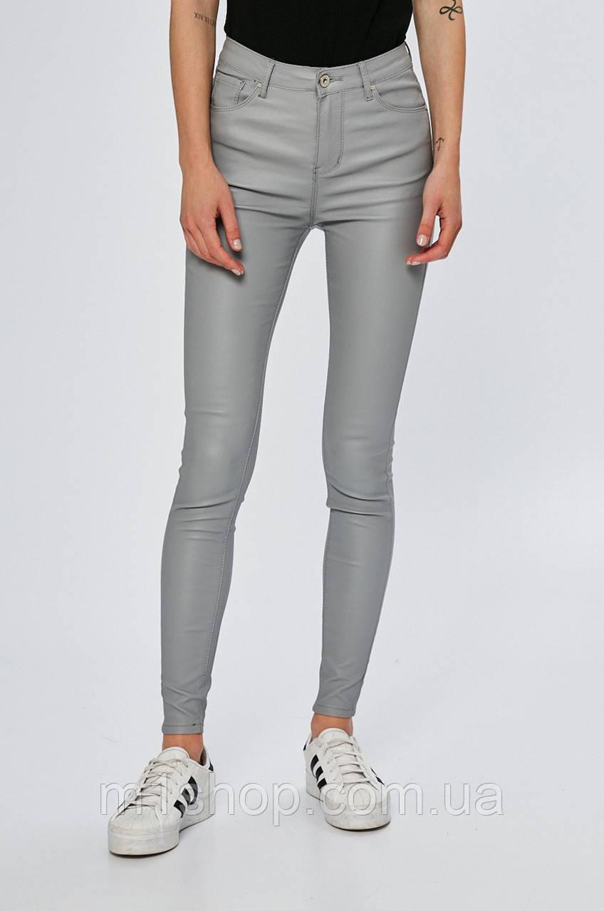 Воскованные женские серые джинсы скинни (8444)