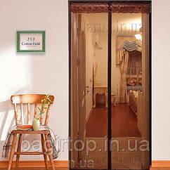Москитная штора на дверь на магнитах 210х110см коричневая