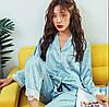 Пижама женская атласная на пуговицах. Комплект шелковый для дома, сна с длинным рукавом, р. L (голубой)