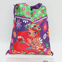17091-JO Мешок сумка для обуви с карманом на молнии Девочка 39*30 см для девочки