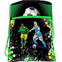 JO-15231 Мешок сумка для сменной обуви с карманом на молнии Футбол 39*30 см для мальчика