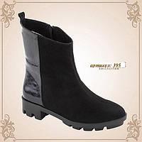 Стильные кожаные чёрные ботинки