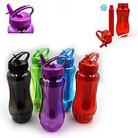 "IMG_6279 Бутылка для воды ""Waterbottle"" прозрачная с трубочкой, 800мл, mix 5 расцветок / спортивная бутылка"