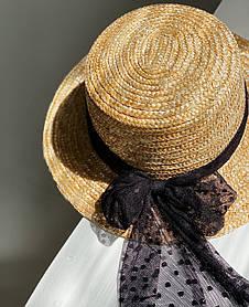 Шляпа с бантиком в мелкий горох