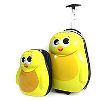 """IMG_2561-35 Набор: чемодан детский на 2 колесах + рюкзак """"Цыпленок"""" 17""""  для девочки или мальчика"""