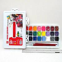 AG012415 Набор красок профессиональная акриловая гуашь 24 цвета по 15 мл и 2 кисточки в пластиковом чемодане
