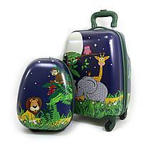 9298 Детский дорожный набор  мальчика или девочки чемодан на 4 колесах и рюкзак Джунгли ручная кладь