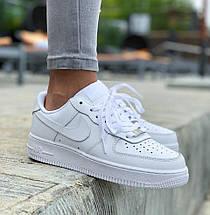Кроссовки мужские женские демисезонные Nike Air Force 1 Low White, найк аир форс 1 белые, фото 3