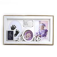"""FR0165 Фоторамка для ребенка  детская """"Baby love"""" 10*15 + отпечаток ручки и ножки"""