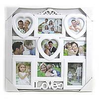 """0198 Семейная фоторамка с сердечком на 9 фото 9 в 1 """"Frame"""" подарок на свадьбу и  годовщину"""