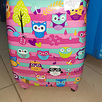 9844 Чемодан детский для девочки Совушки на 4 колесах  двухсторонняя картинка