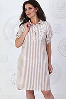 А381 Асимметричное платье-рубашка с вышивкой на груди  из натурального льна! бежевое в полоску