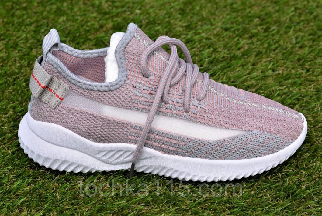 Детские кроссовки носки Adidas Yeezy Boost адидас розовый р32-36, копия
