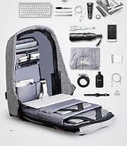 """Городской рюкзак антивор под ноутбук 15,6"""" Бобби Bobby с USB Выбор цвета: серый, черный,, фото 2"""
