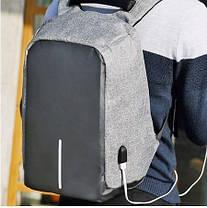 """Городской рюкзак антивор под ноутбук 15,6"""" Бобби Bobby с USB Выбор цвета: серый, черный,, фото 3"""
