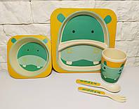 Набор детской эко посуды, бамбуковая посуда бегемотик