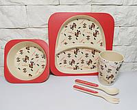 Набор детской эко посуды, бамбуковая посуда футболист