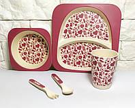 Набор детской эко посуды, бамбуковая посуда фигурки
