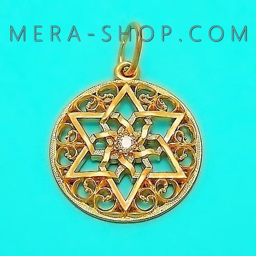 Талисман шестиконечная звезда, кулон из золота 585 пробы с камнем (28 х 20 мм, 3.5 г)