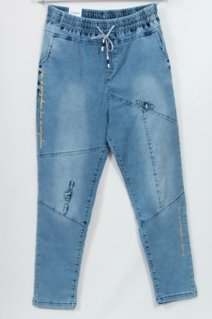 Турецькі жіночі літні джинси на резинці, батал 50-56