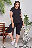 Женский спортивный костюм чёрный 50-52,54-56,58-60,62-64, фото 1