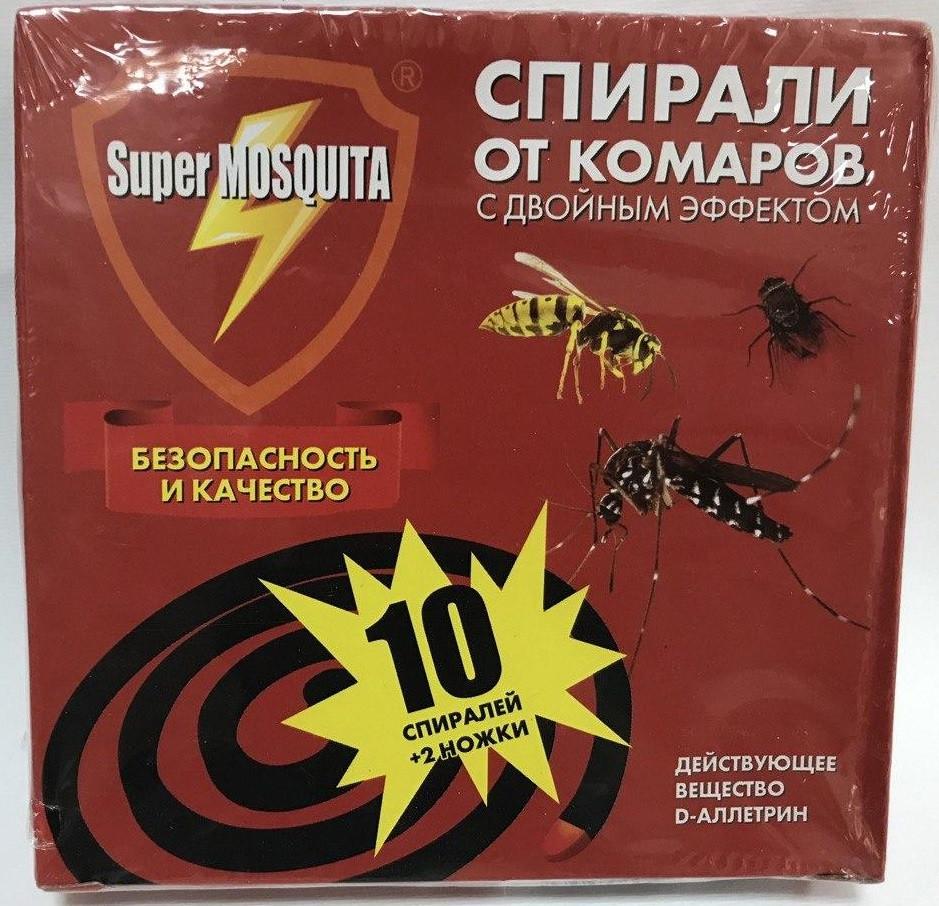 Спирали от комаров, мух, ос, слепней Super MOSQUITA