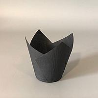 """Паперові форми """"Тюльпан"""" (50х80мм) чорні (50 шт.)"""