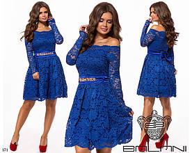 Платье вечернее короткое плечи-лодочка гипюровое+атлас+фатин 42-46