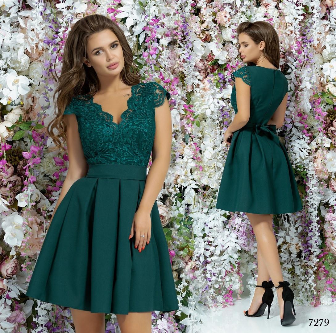 Платье вечернее красивое пышное гипюр+габардин 42,44,46