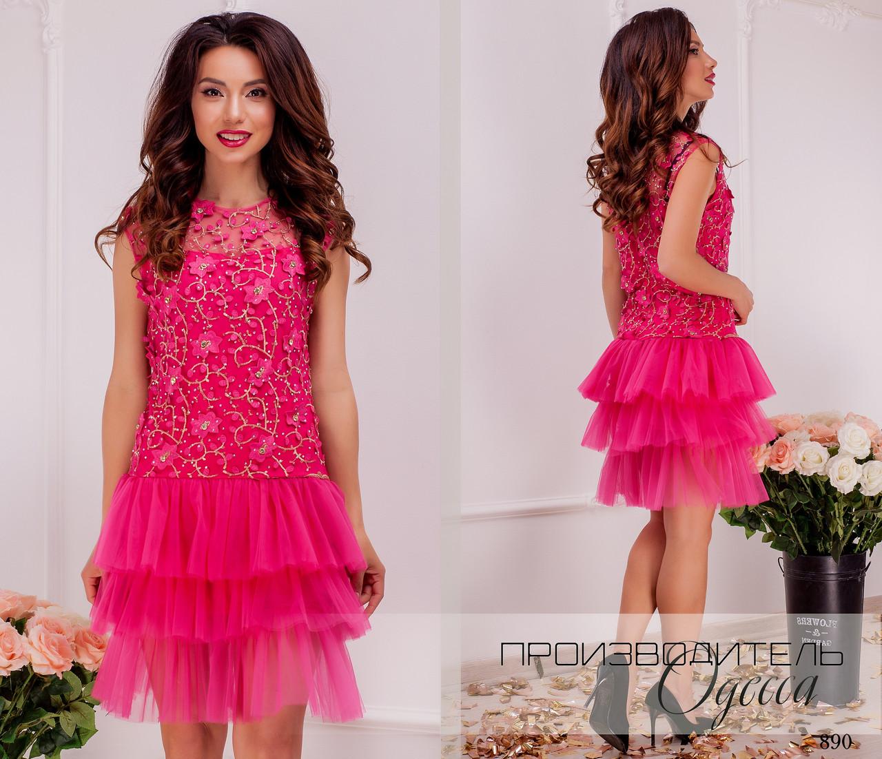 Платье без рукав вечернее сетка+фатин 42,44,46