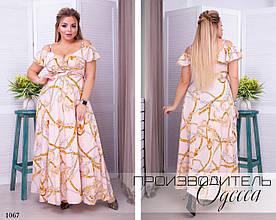Платье нарядноеоткрытые плечи длинное  софт 48-54