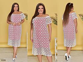 Платье летнее прямого фасова кружево+штапель 48-52,54-58,60-64