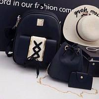 Стильный молодежный набор 3 в 1 женский жіночий рюкзак, сумка, визитница эко-кожа Victory, 3 цвета черный